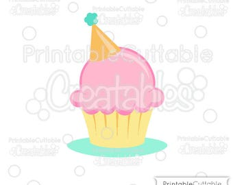 Birthday Hat Cupcake SVG Cut File & Clipart E273 - Includes Limited Commercial Use!
