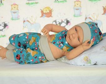 Set for Newborn and Baby - Foxes / Pants - Knots Cap - Bandana