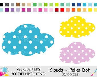 Clouds Clip Art, Polka Dot Cloud Clipart, Rainbow Clouds Clipart, Planner Stickers Clipart, Instant Digital Download Vector Clip Art