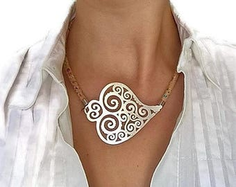 20% OFF SUMMER SALE Portuguese cork and Viana's heart necklace, cork choker necklace, Vianas Heart pendant, rainbow cork, cork jewelry, vega