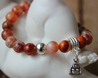 Bracelet with fire agate beads