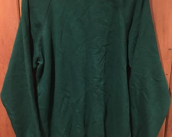 Vintage Hanes Men's Large Forest Green 80s 90s Blank Crew Sweatshirt