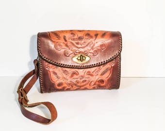 Tooled Leather shoulder bag -  Joo Kay tooled leather purse - Floral tooled shoulder bag - Hand tooled leather bag