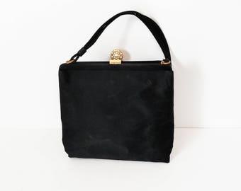 Vintage black evening bag - Vintage purse - Vintage ladies purse - Black fabric purse - Black purse rhinestone clasp -Black purse faux pearl