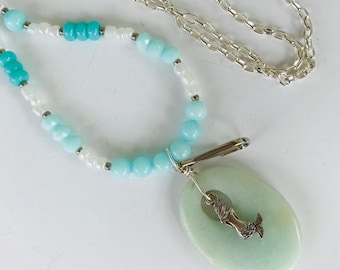 Mermaid Lanyard Converts into Necklace with Earrings, Amazonite Pendant Beaded Cruise Beach Ocean Tropical Inspired Necklace Lanyard