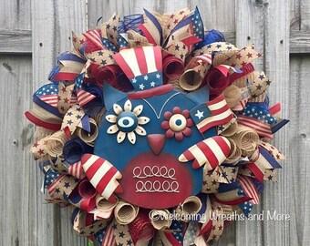ON SALE Patriotic Owl Wreath, Memorial Day Wreath, July 4th Wreath, Patriotic Burlap Wreath, Owl Wreath, Americana Wreath, Patriotic Decor