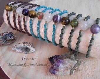 Macrame bohemian Bracelet 'DIPIKA'. Boho Hippie Gypsy Jewelry. Slim spiral Bracelet. Birthstone. Zodiac. protection bracelet.