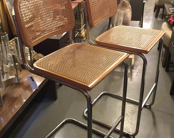 Made in Italy Marcel Breuer Pair of Counter Stools in Birch Finish