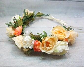 Flower crown Flower accessory Flower headband Flowers for hair Rustic flower Wedding crown Floral headband Gold crown Flower crown bridal