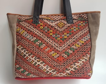 Unique Kilim Leather Tote Bag / Grey Leather Tote Bag / Boho Style Bag / Ethnic Tote Bag / Red tonesTapestry Leather Bag