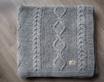 Wool Knit Blanket Gift, Knitted blanket, Knit throw Wool, Wool Blanket Gift, Wool Throw Gift, Large Knit Blanket, Knit throw