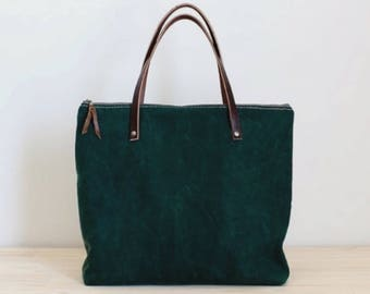 Waxed Canvas Bag. Green Carry All. Tote. Zipper top. Travel Bag