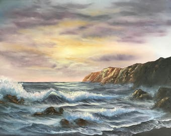 Original oil painting, Ocean Sunset