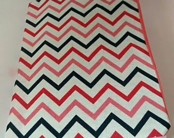 Pink blue Chevron book cover, composition book cover, notebook cover, fabric notebook cover