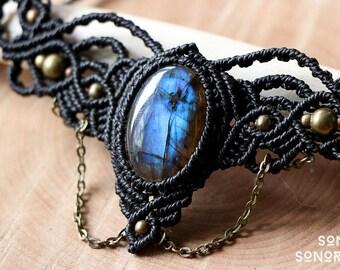 macrame labradorite collar with brass beads and brass chains black