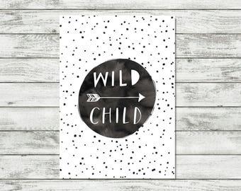 Wild Child Nursery Print, Monochrome Kids Decor, Black and White Nursery Wall Art, Gift For Boy, Boys Room Prints