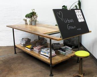 Lucy Large Reclaimed Scaffolding Board Adjustable Magnetic Chalkboard Drafting Table with shelf - bespoke furniture by www.urbangrain.co.uk