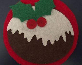 Christmas pudding felt coaster