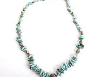 Sterling Silver and Turquoise Beaded Stone Necklace