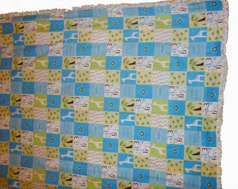 Blue Giraffe Crib Quilt