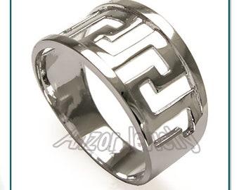 14k White Gold Greek Key Ring   R292