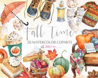 Fall Watercolor Clipart, Watercolor clipart, Fall clipart, Autumn clipart, Fall digital, Autumn digital, Pumpkin clipart, Fall chic, Autumn