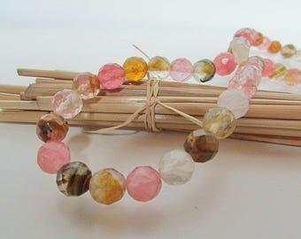 Pearl cherry quartz, faceted quartz, cherry quartz, brown beige-pink - gem stone - 6mm, 8 mm - 485