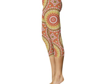 Capri Summer Yoga Pants - Pattern Leggings, Bright Printed Leggings for Spring and Summer