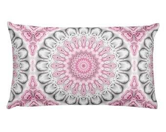 Lumbar Pillow Gray and Pink, Decorative Boho Pillows, Mandala Pillow, 20x12 Throw Pillows