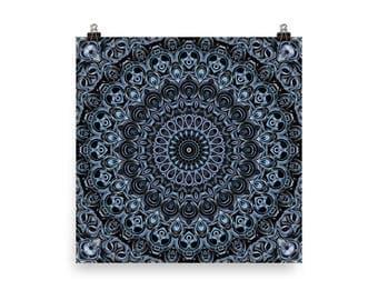 Dark Blue Wall Art, Large Wall Art, Abstract Blue Mandala Art, Home Decor Poster Prints