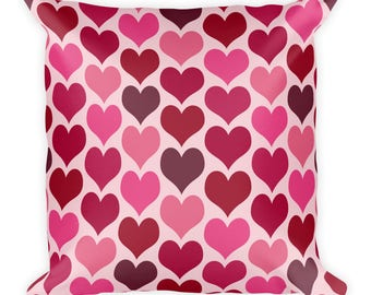 Hearts Pillow, Pink and Red Printed Pillow, 18x18 Square Hearts Pillow, Valentine's Day Home Decor