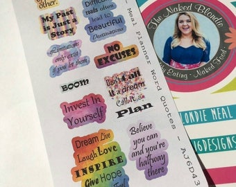 AJ6D430, Meal Planner Word Quotes, Planner stickers.