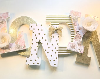 Gold White Nursery Letters