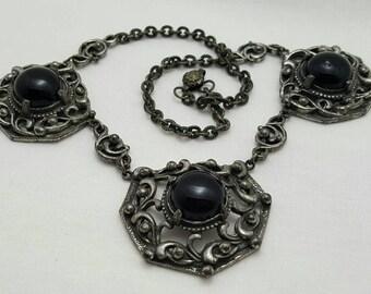 Black Glass Cab Necklace