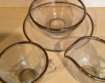 Silver rimmed sugar, creamer and condiment or dip bowl and plate