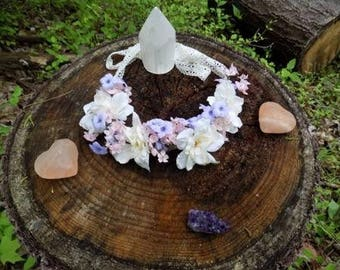 Adjustable White, Purple, and Pink Flower Crown