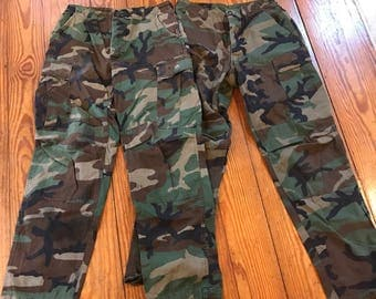 2 Pair BDU Military Pants . Cold Weather and Warm Weather . One of Each . Vintage military pants