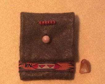 Amulet Pouch, Medicine Bag, Talisman, Crystal Pouch, Bloodstone Amulet Pouch, Lake Superior Agate