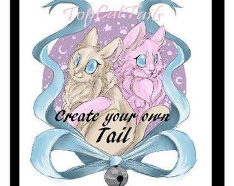 Create Your Own Cat Tail, Neko, kawaii, cosplay, pet play, fur play, lolitta, custom kitty tail.