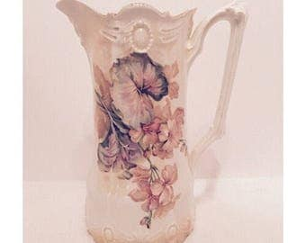R S Prussia Floral Pitcher