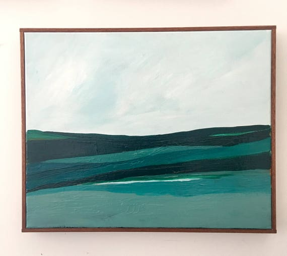 Abstract Original Painting Green and Blue Seascape