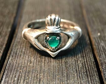 Vintage Sterling Silver/Hiddenite (Emerald Colored) Women's Reversible Ring #081