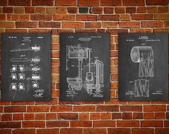 Bathroom Sign, Patent canvas print, Bathroom Art Poster, Toilet Art Print, Patent Print Set, Toilet Paper Poster, Toilet Set of 3