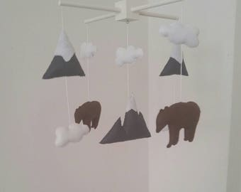 Mountains mobile, woodland baby mobile, mountain and bears baby mobile