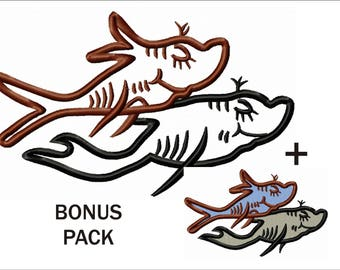 2 Fish Applique & Embroidery Designs in 9 sizes