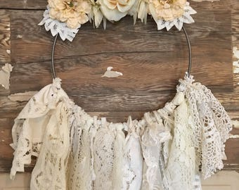 Cream floral dreamcatcher