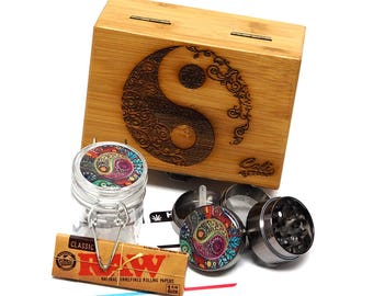 "Yin Yang Laser Etched Sacred Geometry Stash Box, 1.6"" Zinc Alloy Grinder, Small Stash Jar - ALL IN ONE Box Package Item# WBCS111617-8"