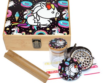 "Large Size Geometry Stash Box, 2.5"" Zinc Alloy Grinder,  Stash Jar, 6"" Rolling Tray - ALL IN ONE Box Package - Unicorn Design #LBCS020818-10"