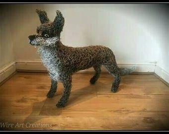 Handmade life size wire fox sculpture.