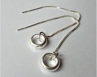 Sterling Silver Dangle Earrings, Silver Threader Earrings, Circle Drop Earrings, Minimalist Earrings., Boho Earrings.